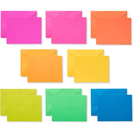 American Greetings Single Panel Blank Cards with Envelopes, Neon Rainbow Colors (100-Count)