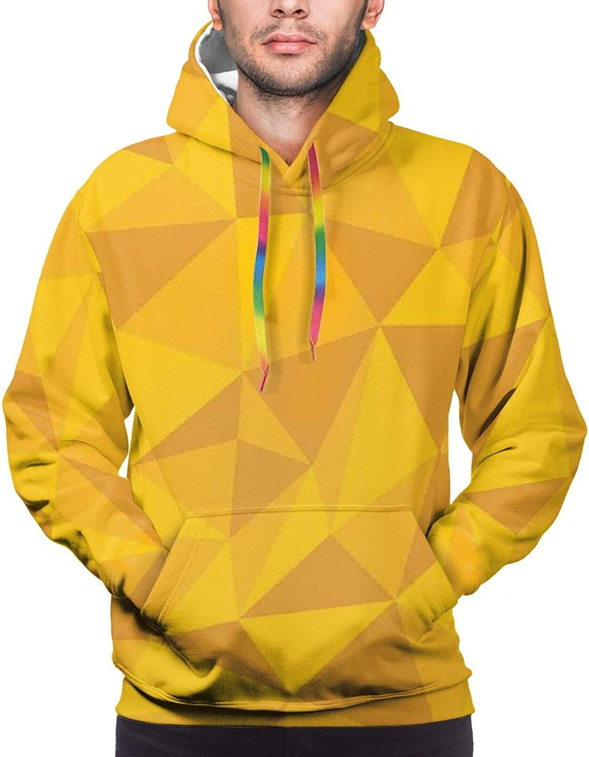 Men's Hoodies Sweatshirts,Abstract Triangles with Doodle Style Alpacas in Monochrome Cartoon Pattern