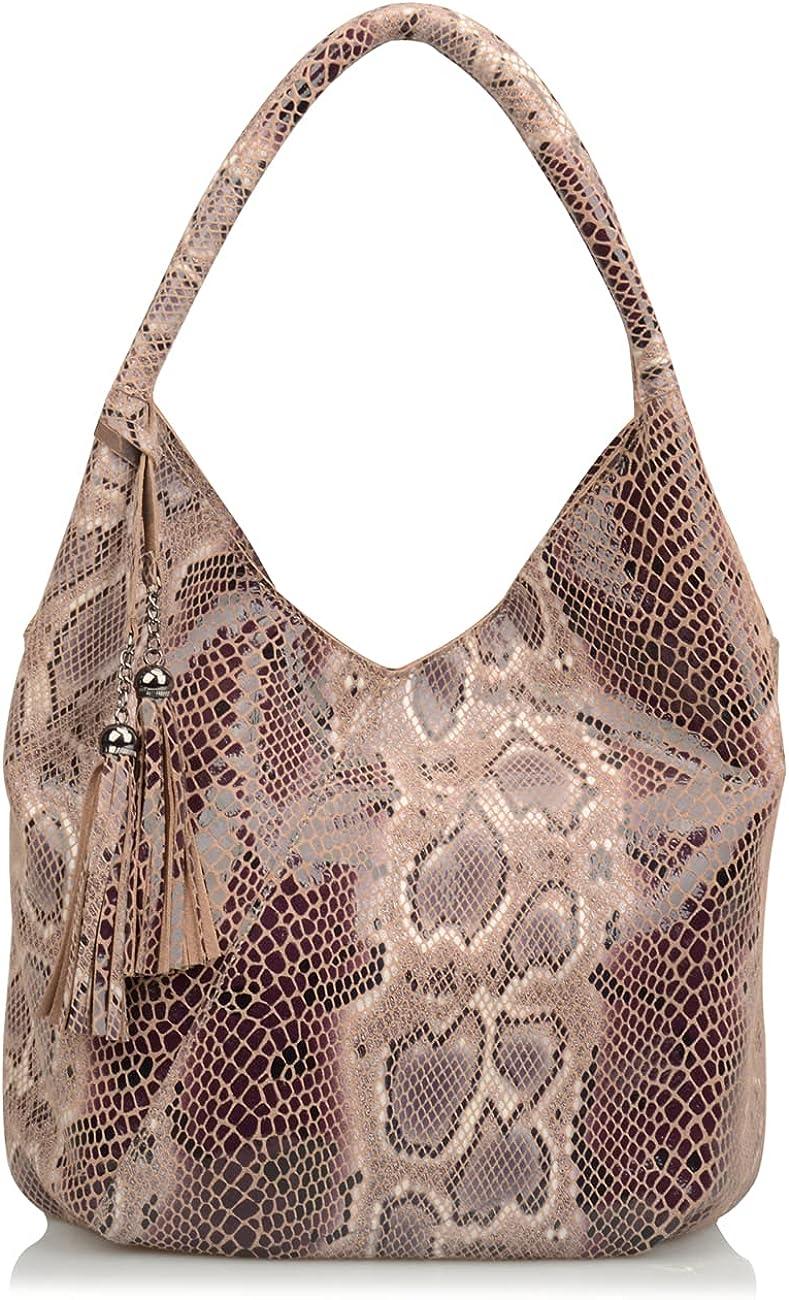 Ainifeel Women's Genuine Leather Tassel Hobo Bags Shoulder Bags Everyday Handbags With Snakeskin Pattern