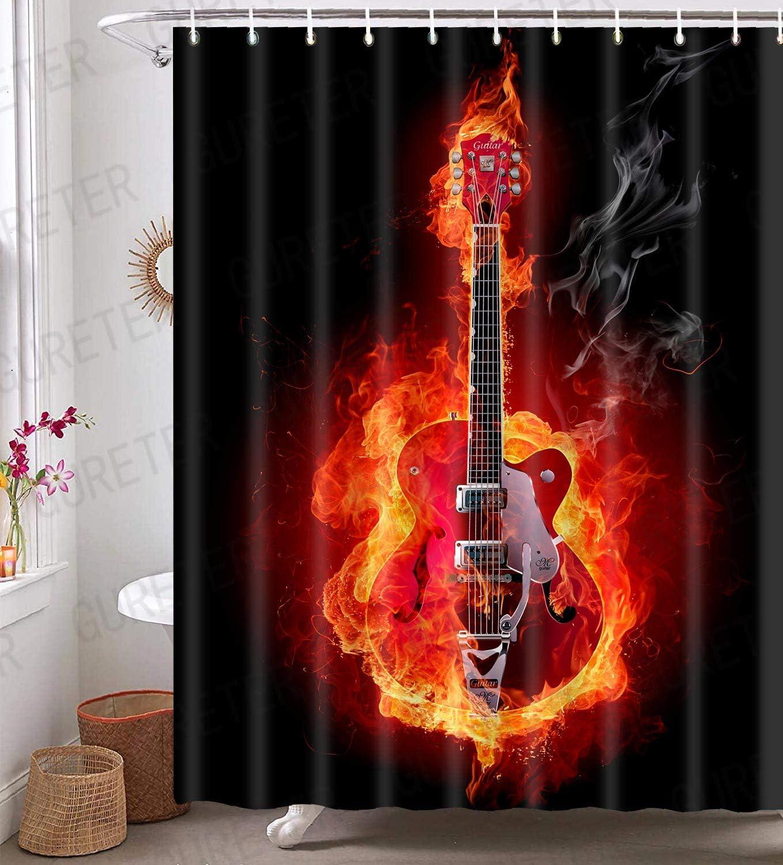 Music Shower Curtain,Art Burning Eletric Guitar Bathroom Curtain for Modern Bathroom Decor, 72x72in, Waterproof with 12 Hooks YLQQGE371