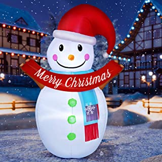 PRETYZOOM 6FT Christmas Inflatable Snowman LED Lighted Air Blown Up Model Christmas Yard Decoration Christmas Party Favors