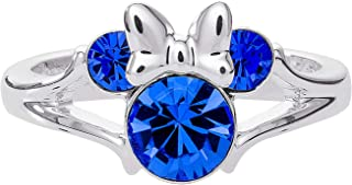 Disney Minnie Mouse Girls Jewelry, Silver Plated Crystal Head Ring, Size 4
