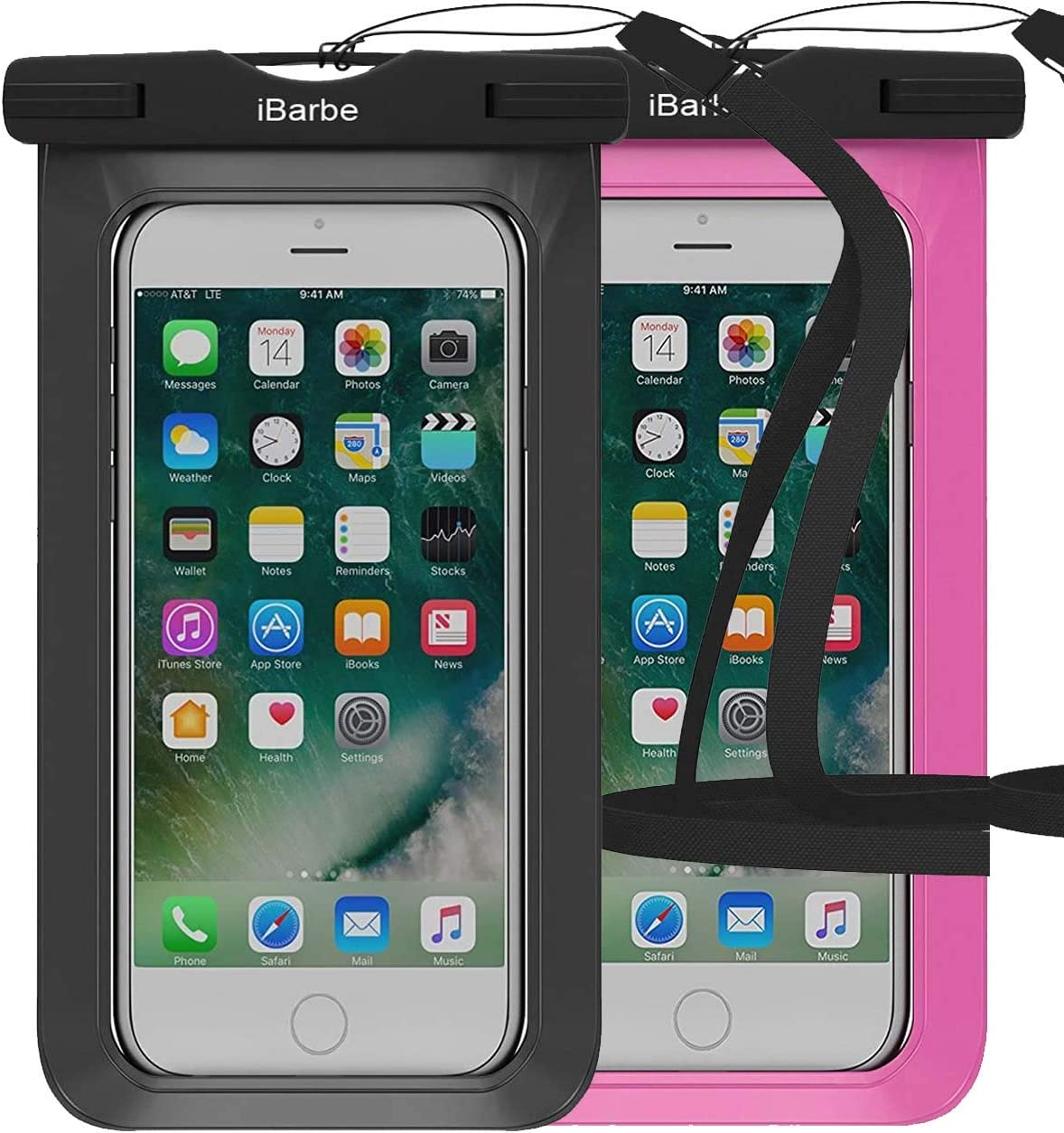 Waterproof Case,2 Pack Universal Cell Phone Dry Bag Pouch Underwater Compatible with iPhone 12 Mini 11 PRO MAX X XR XS MAX 8 Plus 7 7 Plus 6S 6 6S Plus SE etc.to 6.3 inch,Black+Rose