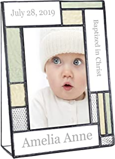 Baptism Gifts for Girls Or Boys Personalized Picture Frame Custom Engraved Glass 4x6 Vertical Photo Green and Antique Yellow J Devlin Pic 430-46V EP617