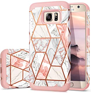 Fingic Galaxy S7 Case, Samsung S7 Case Marble Design Shiny Glitter Bumper Hybrid Hard PC Soft Rubber Anti-Scratch Shockproof Protective Case Cover for Samsung Galaxy S7 (5.1'')(2016) - Rose Gold