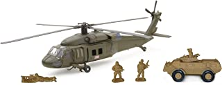 New Ray Sikorsky UH-60 Hawk with Armored Vehicle Set, Black
