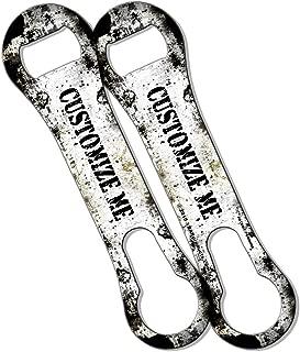 BarConic Customizable V-Rod Bottle Opener - White and Black Grunge