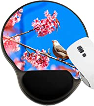 MSD Mousepad Wrist Rest Protected Mouse Pads, Mat with Wrist Support, Image ID: 34309541 Bird on Cherry Blossom and Sakura White Headed Bulbul