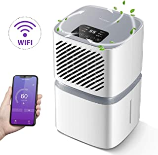 Deshumidificador iTvanila 12L por día para uso doméstico con control WiFi, pantalla LED con apagado automático, secado de la ropa, flujo continuo con manguera, color blanco
