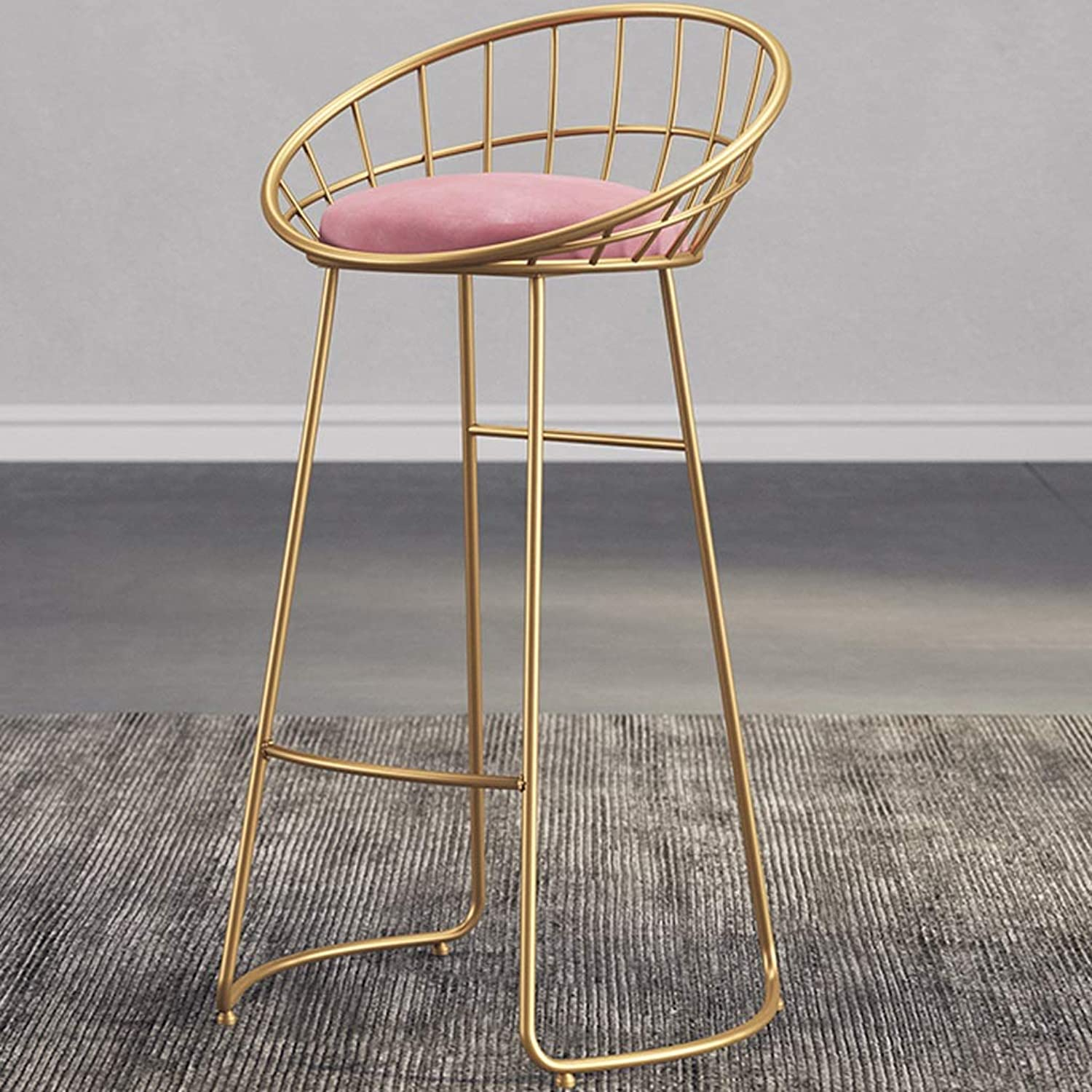 Hzpxsb Nordic High Stool Modern Dining Chair Iron Wire Chair Simple Bar Stool Leisure Chair Bar Stool (color   gold)
