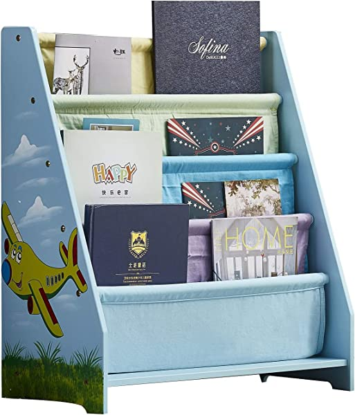 WODENY Childrens Bookshelf Canvas Wooden Kids Book Shelf Sling Book Rack For Toddlers Girls Boys Ages 3 Blue