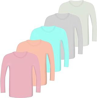 LOREZA ® Pack de 5 camisetas interiores de manga larga para niños y niñas, tallas 92-158/2-13 años