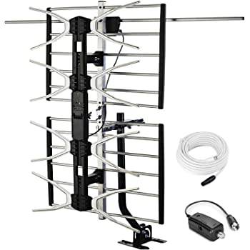 PBD Outdoor Digital HD TV Antenna with High Gain Amplifier 150 Mile Long Range for UHF/VHF, Mounting Pole, 40FT RG6 Coaxial Cable, Easy Installation