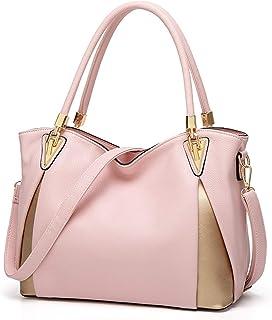 ZZZ Tote Bag Women's Handbag PU Large-Capacity Shoulder Bag Messenger Bag PU Leather Shopping Travel Laptop Bag For Ladies Wallet Storage Bag High Capacity fashion (Color : Pink)