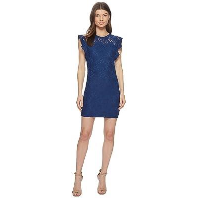 Jack by BB Dakota Monae Stretch Floral Lace Dress (Estate Blue) Women