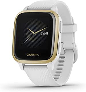 Garmin Venu Sq, GPS Smartwatch with Bright Touchscreen Display, Up to 6 Days of Battery Life, Light Gold and White