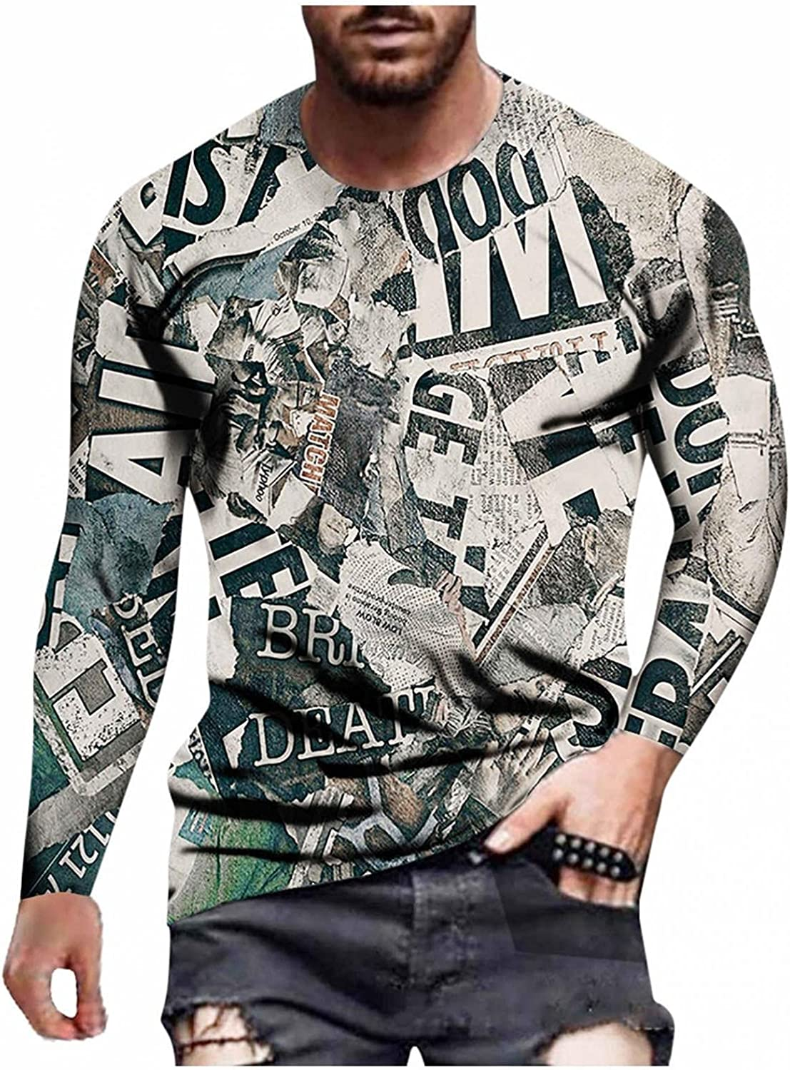 Mens Shirts Men's Autumn Winter Casual Printed Newspaper Round Neck Long Sleeve Tee Shirts for Men Polo Shirts for Men