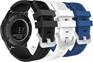 MoKo Band Compatible with Samsung Gear S3 Frontier/Classic/Galaxy Watch 46mm/Huawei Watch GT 46mm/Ticwatch pro/S2/E2, [3-Pack] Silicone Strap Fit 22mm Band, Multi Color A