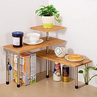 Jolitac Étagère d'angle de cuisine à 3 niveaux en bambou pour bureau, étagère de rangement pour épices, économise de l'esp...