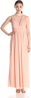 Marina Women's Long Dress with Shirring at Bust and Waist