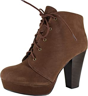 Women's Agenda Ankle Lace Up Platform Chunky Heel Ankle Bootie, Camel, 8 M US