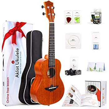 Concert Ukulele 23 Inch Solid Mahogany Uke For Professional Player With Ukelele Beginner Kit ( Gig Bag, Picks, Tuner, Strap, String, Cleaning Cloth, Starter Manual )