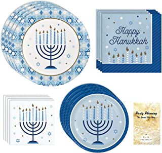 Hanukkah Party Supply Pack, Menorah Design, Blue White and Gold, 16 Guests, 65 Pieces, Disposable Paper Dinnerware, Plate ...