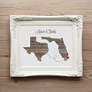 Any Two States Love Wedding Gift