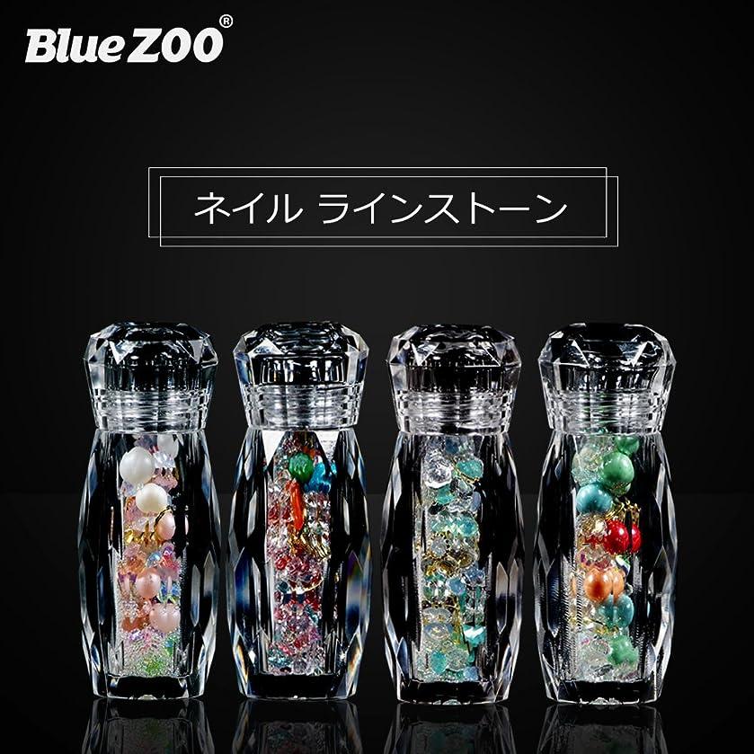 弓コンピューター価格BlueZOO (ブルーズー) クリスタルボトル 4種類 マルチサイズ ネイルアクセサリー + Vカットダイヤモンド + ジェムサークル + タイニービーズ ネイルパーツ