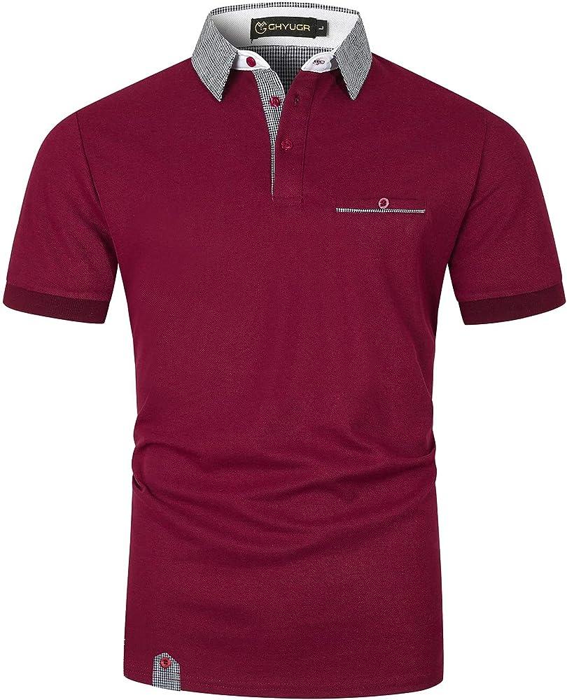Ghyugr polo maglietta da uomo a maniche corte 100% cotone shenkaclothing0618-C