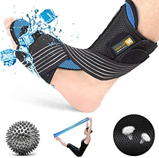 Plantar Fasciitis Night Splint Kit-Ultra Breathable Plus Cool Feeling Corrective Brace Soft Pad Massage Ball Elastic Strap Pain Relief for Drop Foot from NICEWIN [Upgraded] 2019