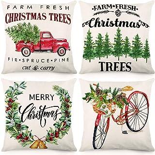 CDWERD Christmas Throw Pillow Covers 18x18 Inches Farm Fresh Christmas Trees Christmas Decorations Farmhouse Pillowcase Cotton Linen Cushion Case for Home Décor Set of 4