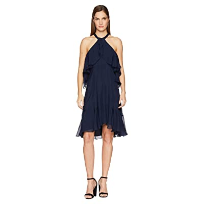 Nicole Miller Halter Ruffle Dress (Navy) Women