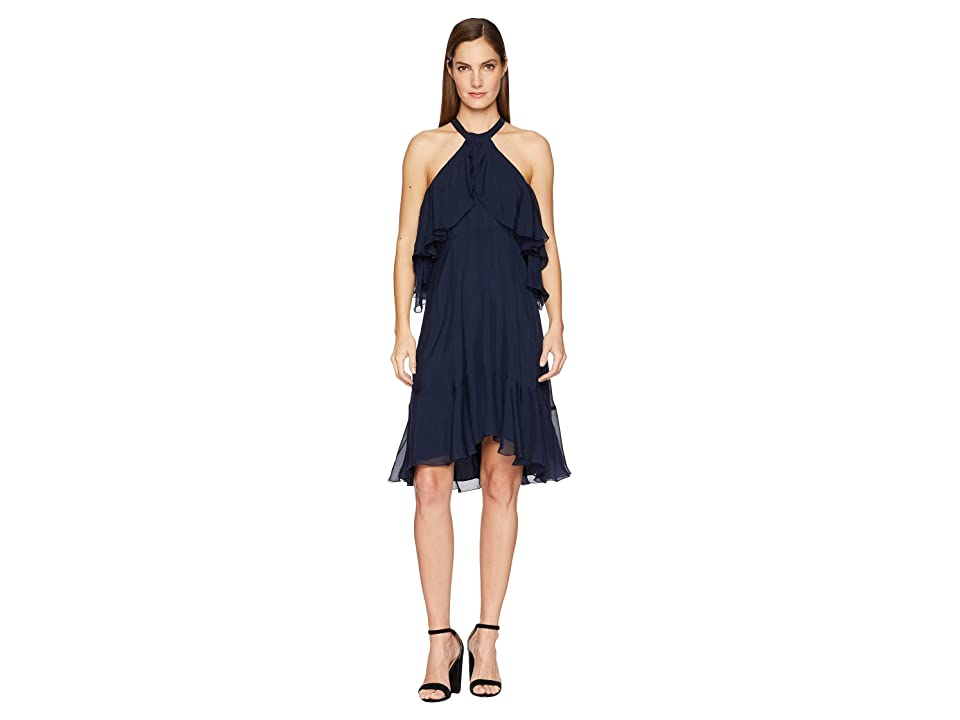 Nicole Miller Halter Ruffle Dress (Navy) Women