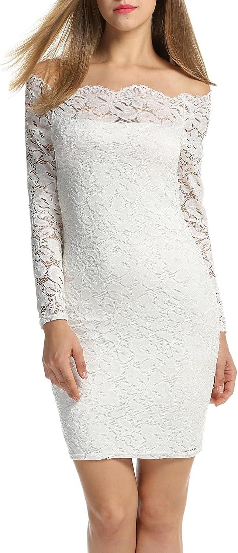 ACEVOG Women's Vintage Formal Floral Lace Long Sleeve Cocktail Party Tube Dress (XXX-Large, White)