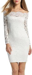 ACEVOG Women Off Shoulder Floral Lace Party Dress