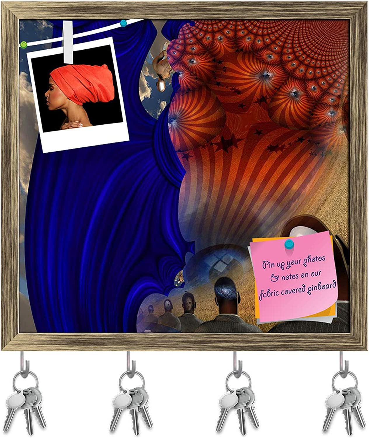 Artzfolio Surreal Abstract with Human Elements D3 Key Holder Hooks   Notice Pin Board   Antique golden Frame 16.8 X 16Inch