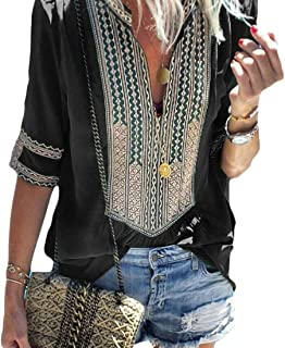 FRPE Women Plus Size Short Sleeve Floral Ethnic Style Loose Fit Top Blouse T-Shirt
