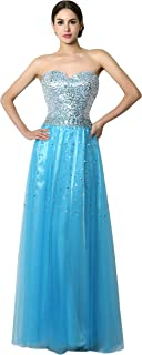 AWBJN DNWVA Women's Sweetheart A Line Tulle Prom Dress Long Sequins Evening Party Gowns SD085