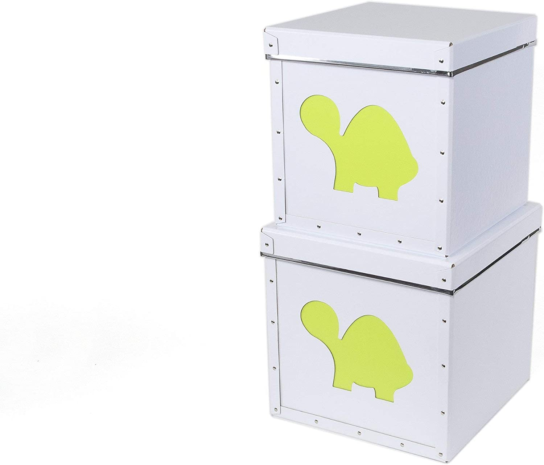 Bigso Smilla Kid's Storage Box, Lime Turtle, Set of 2