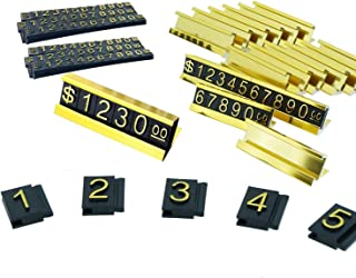 SunnyZoo Price Tag Adjustable Counter Stand Label Metal Sale Price Display Stand 16 Sets (Gold)