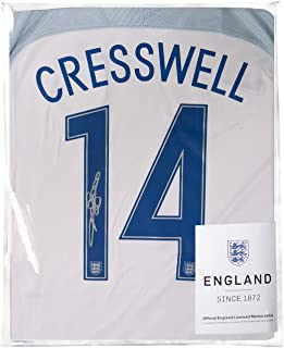 Icons.com Aaron Cresswell Official England Back Signed 2016-17 Home Shirt