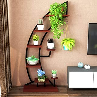 Large Creative Curved Steel Plant Stand, Multipurpose Display Stand for Flowers/Books/Bonsai, Indoor Bonsai Display Shelf for Living Room/Bedroom/Balcony/Office (Bowlike, Black)