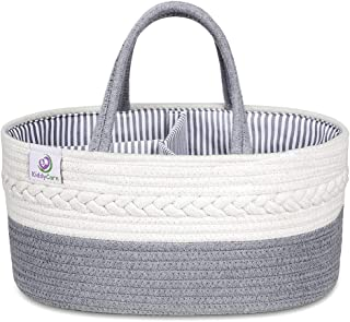 KiddyCare Baby Diaper Caddy Organizer - Stylish Rope Nursery Storage Bin 100% Cotton Canvas Portable Diaper Storage Basket...