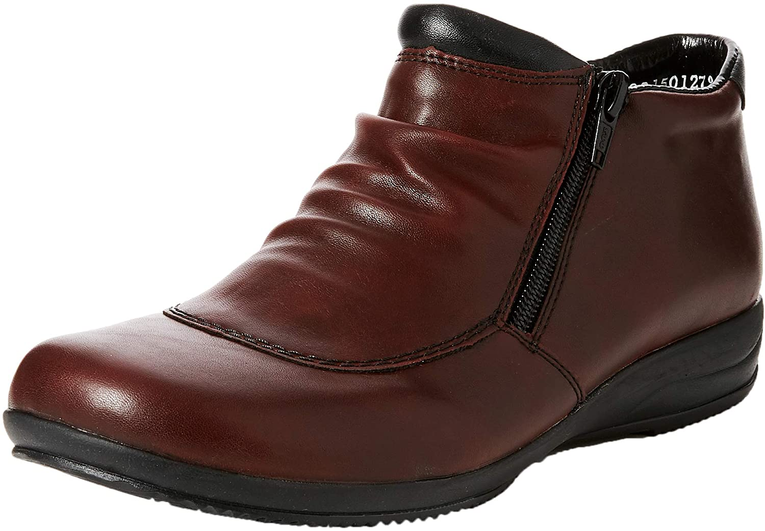 Rieker Women's Folly Twin Zip Ruched Leather shoes Boots