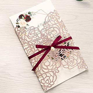 Doris Home 250 GSM 5 x7.3 inch Laser Cut Glitter Wedding Invitations Cards with Envelopes and Blank Inner Sheets for Wedding Bridal Shower Engagement CW0024 (Rose Gold, 50pcs Blank)
