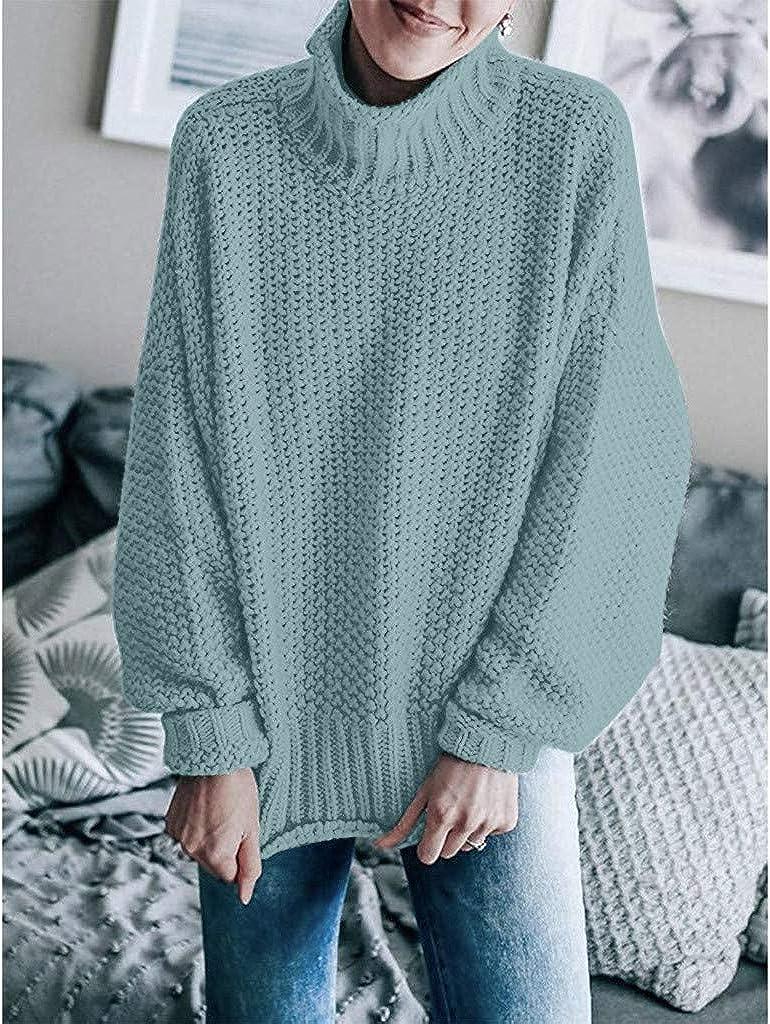 BOLANQ Damen Herbst Winter Übergangs Warm Bequem Slim Lässig Stilvoll Frauen Langarm Solid Sweatshirt Pullover Tops Bluse Shirt Blau
