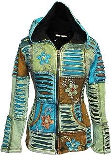 Shopoholic FashionWomen Flower Embroidered Fleece Lined Hippy Hoodie Jacket