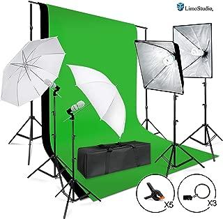 LimoStudio Photo Shooting Kit with Background Support System & Umbrella Softbox Lighting Kit, Photo Video Studio, AGG1388