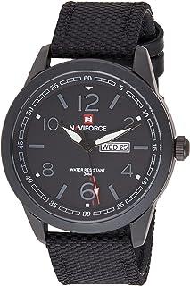 ساعة انالوج كلاسيكية بمينا سوداء وسوار جلد اصلي للرجال من نافي فورس - NF9101-BGYB